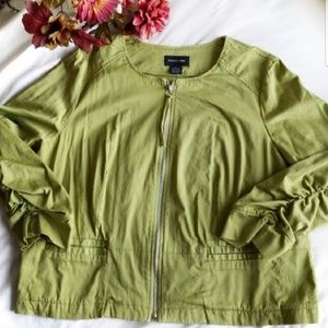 Focus 2000 olive green ruched sleeves jacket sz 16